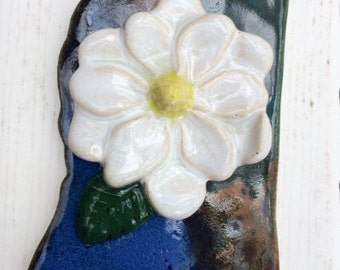 Mississippi Magnolia Pottery Ornament. State Flower Ornament. Handmade Pottery