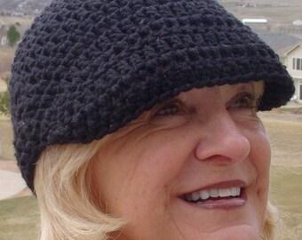 Bohemian Accessories /  Black Crochet Newsboy Hat / Women Fashion / Hats By Anne / Women Hat