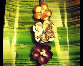 Leather Floral Bracelet