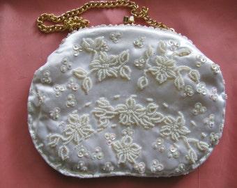 White Beaded Flowers Bridal Evening Bag