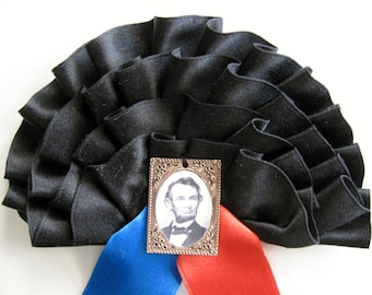 Civil War Abraham Lincoln Mourning Badge Cockade