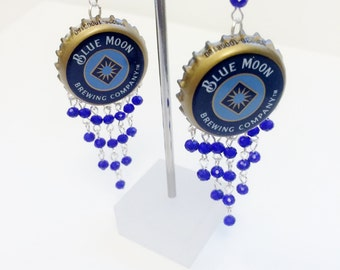 Blue Moon | Beer Cap Earrings | Custom | Upcycled Bottle Cap