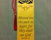 Wood Scripture Bookmark - Beatitudes Matthew 5:8 - Blessed are the pure in heart