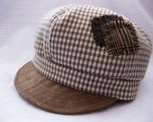 Boys hat tan brown baby hat for boys toddler fabric baby hat gingham checks hat plaid hat - Little Rascal