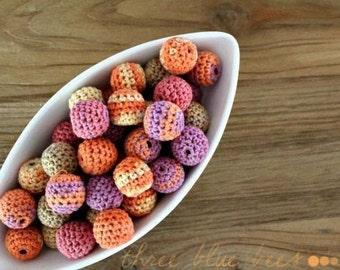Crocheted  Beads 12 Pcs summer fruit
