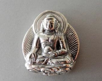 Sterling Silver Buddha Om Charm Sanskrit Inspiration 24mm