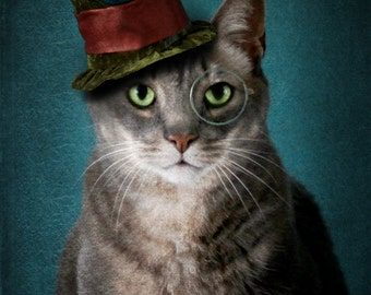 Pet Photography, Surreal, Fine Art Photograph, Cat, Photo, Art, Steampunk, Wall Decor, Vintage, Retro, Print, Teal, Surreal, Animal, Hat