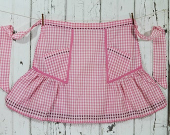 Fancy Half Apron Vintage - Pink and White Gingham - Cross Stitch and Rick Rack Details
