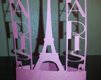 DIY Paris banners with Eiffel tower stand alone centerpiece