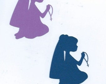 little girl praying the Rosary cupcake toppers set of 12