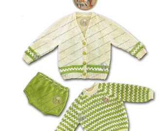 Spring Sweater and Diaper Cover to Knit for Baby - Vintage Knitting Pattern - PDF Instant Download - PrettyPatternsPlease