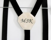 Monogrammed Velvet Suspenders with Leather Accents
