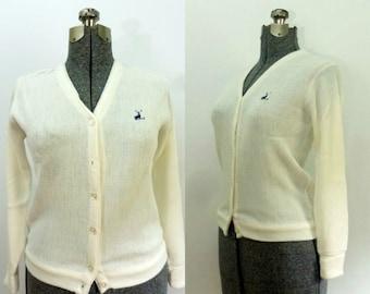 Ladies Golf Sweater Cardigan White Vintage 1960s