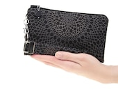 Black clutch with gray medallion lace like fabric - small purse for women - wedding bridesmaids gift - charcoal evening bag