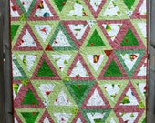 Christmas Quilt Santa's Whimsy Pyramid Quilted Patchwork Quiltsy Handmade FREE U.S. Shipping