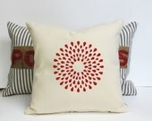 Hand Printed Pillow with Red Fire Cracker Print - Fourth of July Home Decor