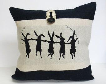 Decorative Rabbit Pillow, Burlap Rabbit Decorative Pillow Cushion