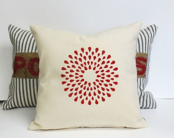 Hand Printed Geometric Pillow, Americana Rustic Country Hand Printed Geometric Pillow, Relaxed Country Home Decor, Red White and Blue
