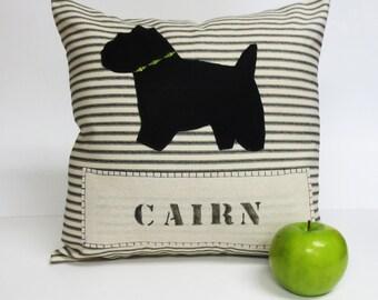 Cairn Terrier Silhouette Pillow, Cairn Terrier Dog Silhouette Decorative Pillow, Stripe Decorative Pillow, Ticking Stripe Pillow