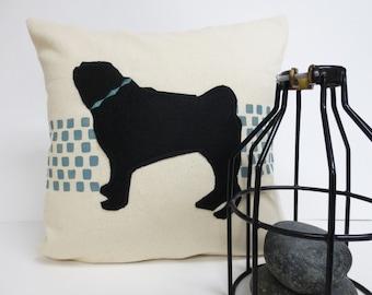 Pug Silhouette Pillow, Hand Printed Geometric Pillow, Felt Silhouette, Dog Silhouette Pillow, Home Decor, Kids Room, Nursery Pillow