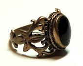 Antique Onyx Ring Fleur de Lis Ring GOTHIC ring Romantic ring Size 5.5, Ring