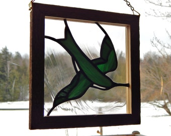 Stained Glass Tree Swallow Panel with Barn Board Frame