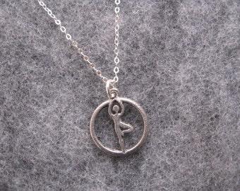 Yoga Necklace, Silver Charm Necklace, Yoga Charm Pendant, Yoga Jewelry, Tree Pose Asana, Yoga Necklace Meditation Jewelry