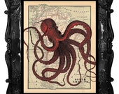Antique Map with Red Octopus art print, red octopus art, octopus poster art, octopus wall art octopus nautical octopus home decor