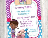 10 PRINTED Doc McStuffins Invitations with Envelopes.  Free Return Address Labels
