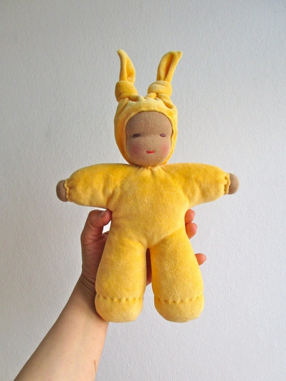 Organic waldorf doll, yellow, colored skin, dark skin, soft, baby, shower gift, cuddly, bunting