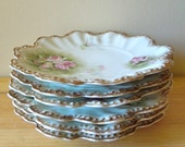 Antique Limoges France Floral Plates - Set of 6