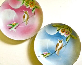 Hand Painted Plates - Pink & Blue Owls on a Branch - Antique China Saucers