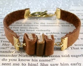 Miniature Book Bracelet The Stacks Stack of Three Miniature Books and Leather Bracelet