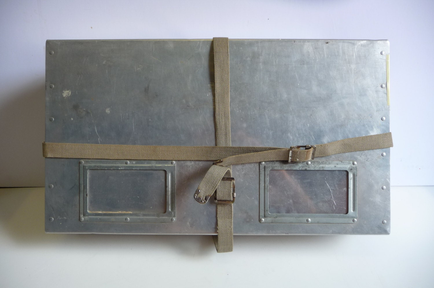Vintage metal shipping box crate aluminum laundry suitcase for Metal shipping crate