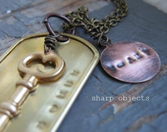 AMO DOMUS - mens stamped tag, antique brass metalwork key charm & sealed link chain necklace