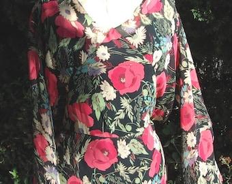 "Original 1930-31 Model ""A"" Era Poppy Print Silk Chiffon Long Gown/Drerss Size 12  Item # 312 Gowns/ Dresses"