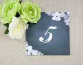 Chalkboard Blooms Tented Table Numbers (Set of 10)