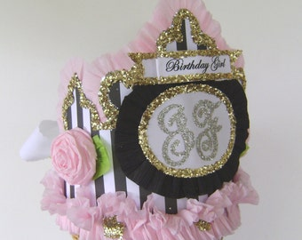 Monogram Birthday hat, monogram crown, customize with any letter,number or banner