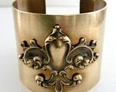 Vintage Bracelet - Art Nouveau Bracelet - Statement Bracelet -  Cuff Bracelet - Brass jewelry - Fleur De Lis jewelry - handmade jewelry