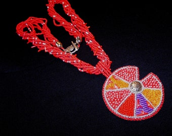 Necklace bead embroidery coral red pendant  abstraction INSPIRED BY KANDINSKY