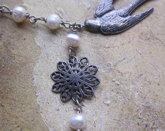 diving bird and freshwater pearl - the adena necklace