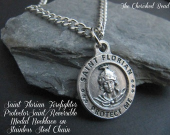 Firefighter Saint Florian Reversible Protection Medal Necklace on Stainless Steel Chain