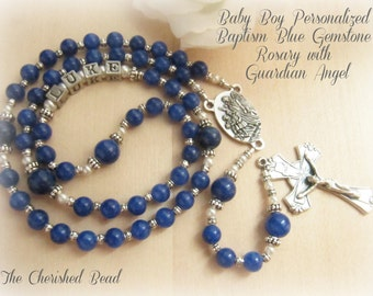 Catholic Baby Boy's Baptism Blue Gemstone and Pearl Personalized Rosary with Guardian Angel