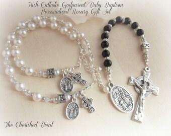 Catholic Irish Baby Baptism Godparent Rosary Gift Set - Personalized