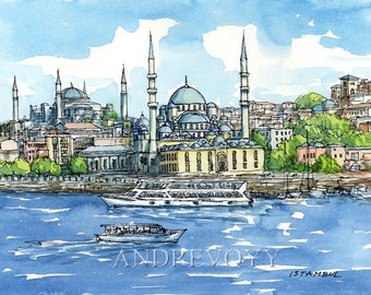 Istanbul Mosques Turkey art print of the original watercolor painting