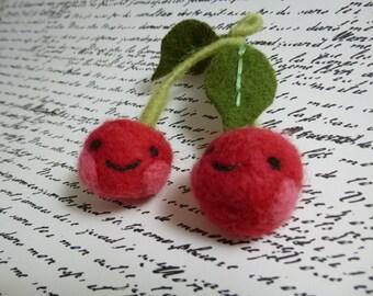 Cheerful cherries sweethearts decor needle felted fun
