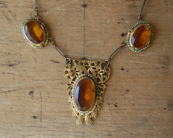 Antique Czech amber glass necklace with seed pearls / AS YOU WERE