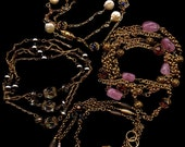 12 Feet Vintage Bead Chain Swarovski Haskell Baroque Pearls Vaseline Glass Gemstone Brass Rolo Chain
