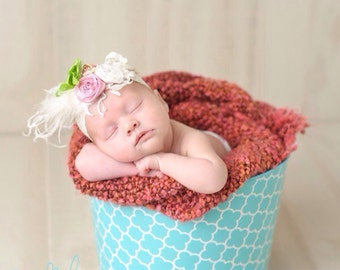 Easter Jubilee Petite Rosette & Stretch Lace Headband Photo Prop Baby Newborn