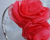 Skinny Grey Headband with Coral Flowers in Satin and Chiffon